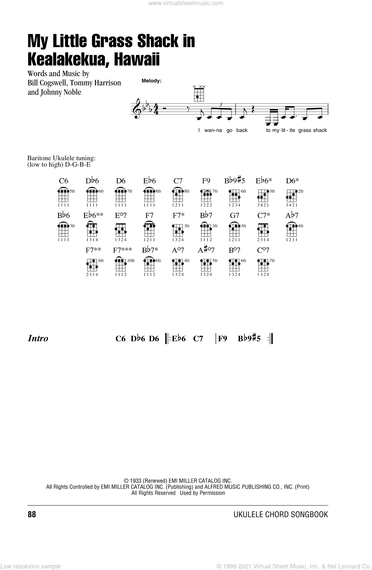 My Little Grass Shack In Kealakekua, Hawaii sheet music for ukulele (chords) by Bill Cogswell, Johnny Noble and Tommy Harrison, intermediate skill level