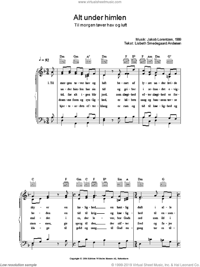 Alt Under Himlen - Til Morgen Tover Hav Og Luft sheet music for voice, piano or guitar by Jakob Lorentzen and Lisbeth Smedegaard Andersen, intermediate. Score Image Preview.