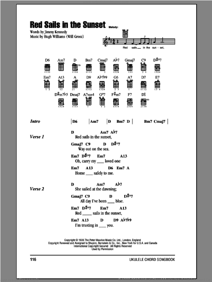 Red Sails In The Sunset sheet music for ukulele (chords) by Jimmy Kennedy and Hugh Williams. Score Image Preview.