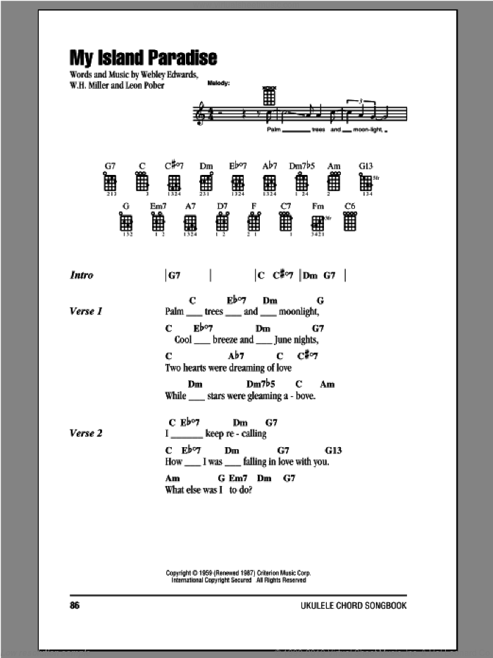 My Island Paradise sheet music for ukulele (chords) by Webley Edwards, intermediate ukulele (chords). Score Image Preview.
