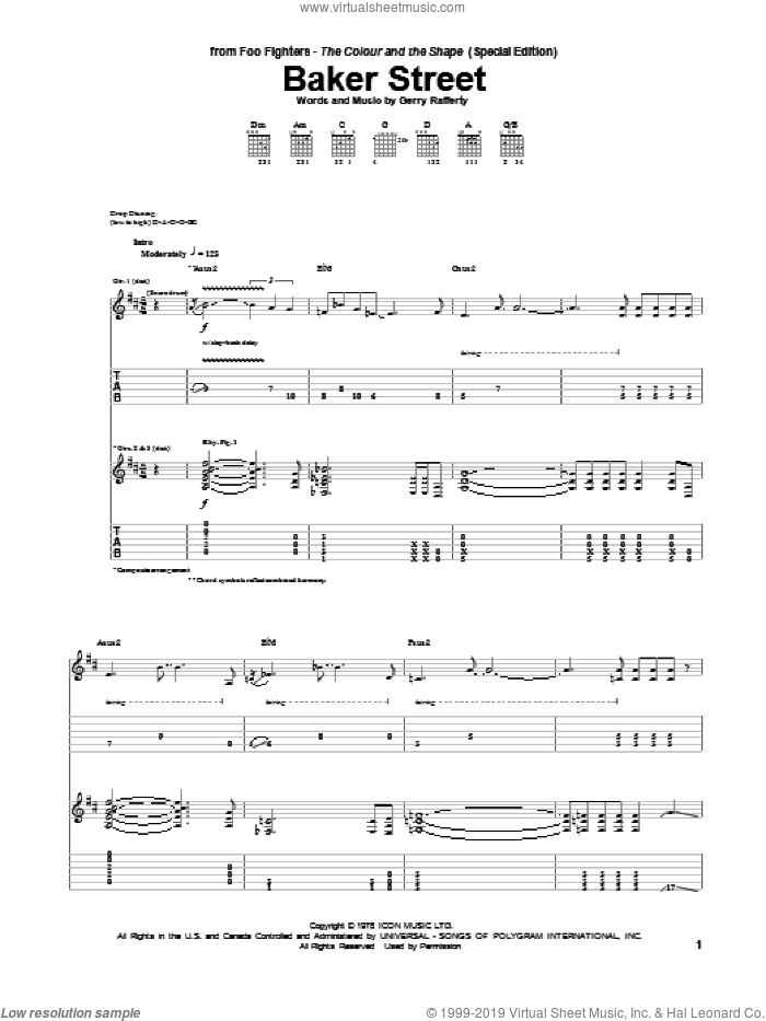 Baker Street sheet music for guitar (tablature) by Foo Fighters. Score Image Preview.