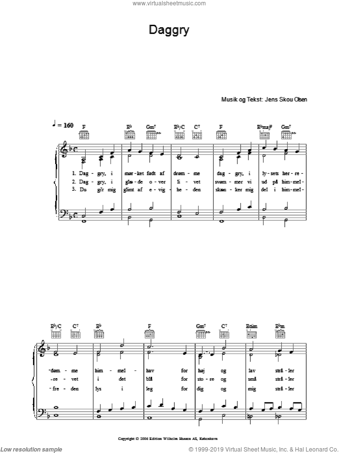 Daggry sheet music for voice, piano or guitar by Jens Skou Olsen