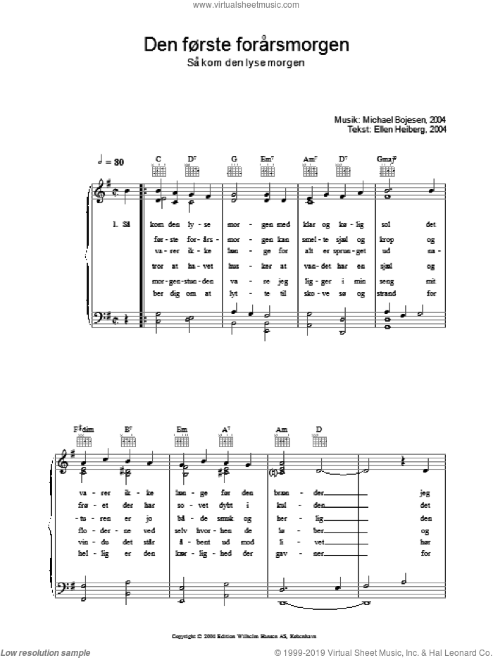 Den Forste Forarsmorgenmorgen - Sa Kom Den Lyse Morgen sheet music for voice, piano or guitar by Michael Bojesen and Ellen Heiberg, intermediate. Score Image Preview.