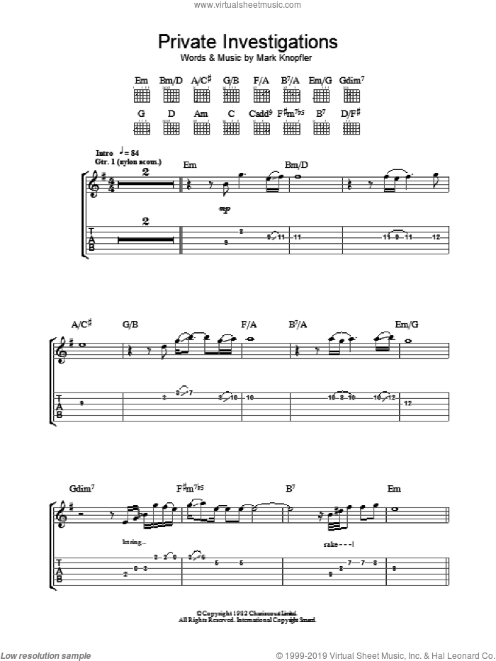 Private Investigations sheet music for guitar (tablature) by Dire Straits and Mark Knopfler, intermediate guitar (tablature). Score Image Preview.