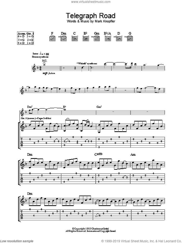 Telegraph Road sheet music for guitar (tablature) by Dire Straits and Mark Knopfler, intermediate guitar (tablature). Score Image Preview.
