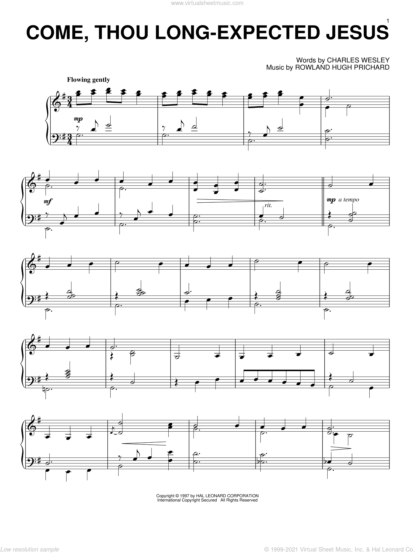 Come, Thou Long-Expected Jesus sheet music for piano solo by Charles Wesley and Rowland Prichard. Score Image Preview.