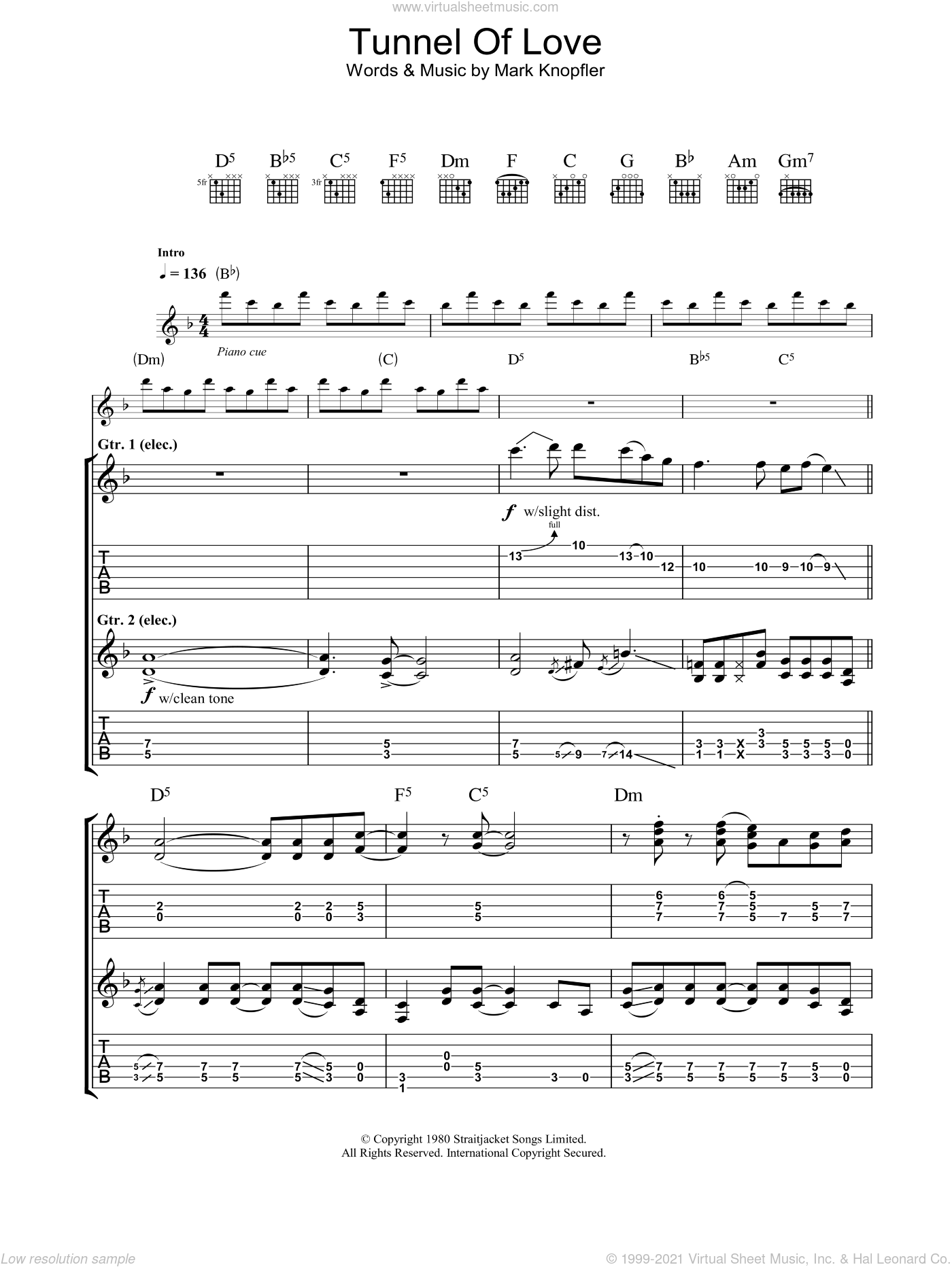 Tunnel Of Love sheet music for guitar (tablature) by Dire Straits and Mark Knopfler, intermediate. Score Image Preview.