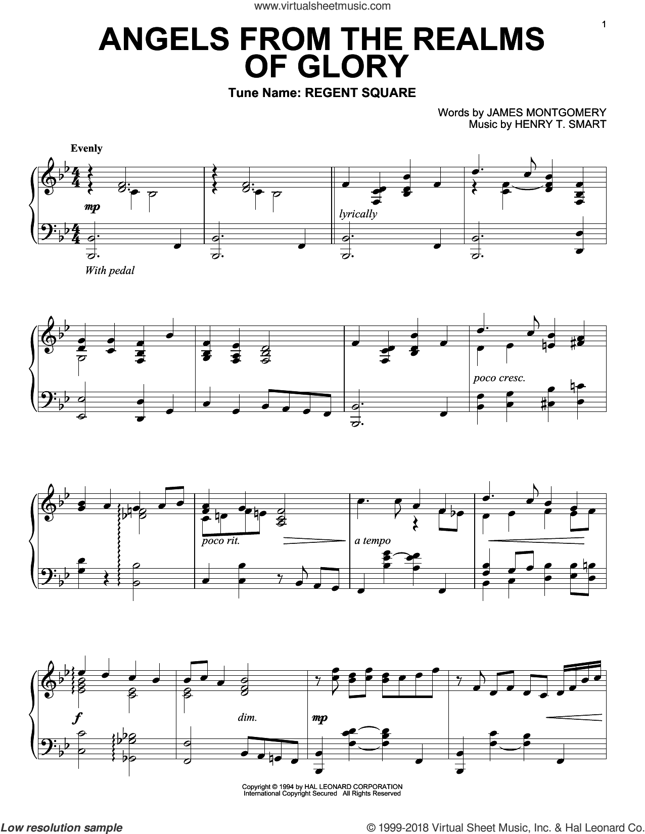 Angels From The Realms Of Glory sheet music for piano solo by Henry T. Smart and James Montgomery. Score Image Preview.