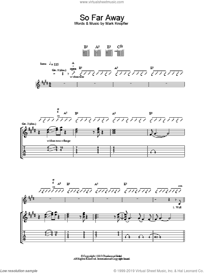 So Far Away sheet music for guitar (tablature) by Mark Knopfler and Dire Straits. Score Image Preview.