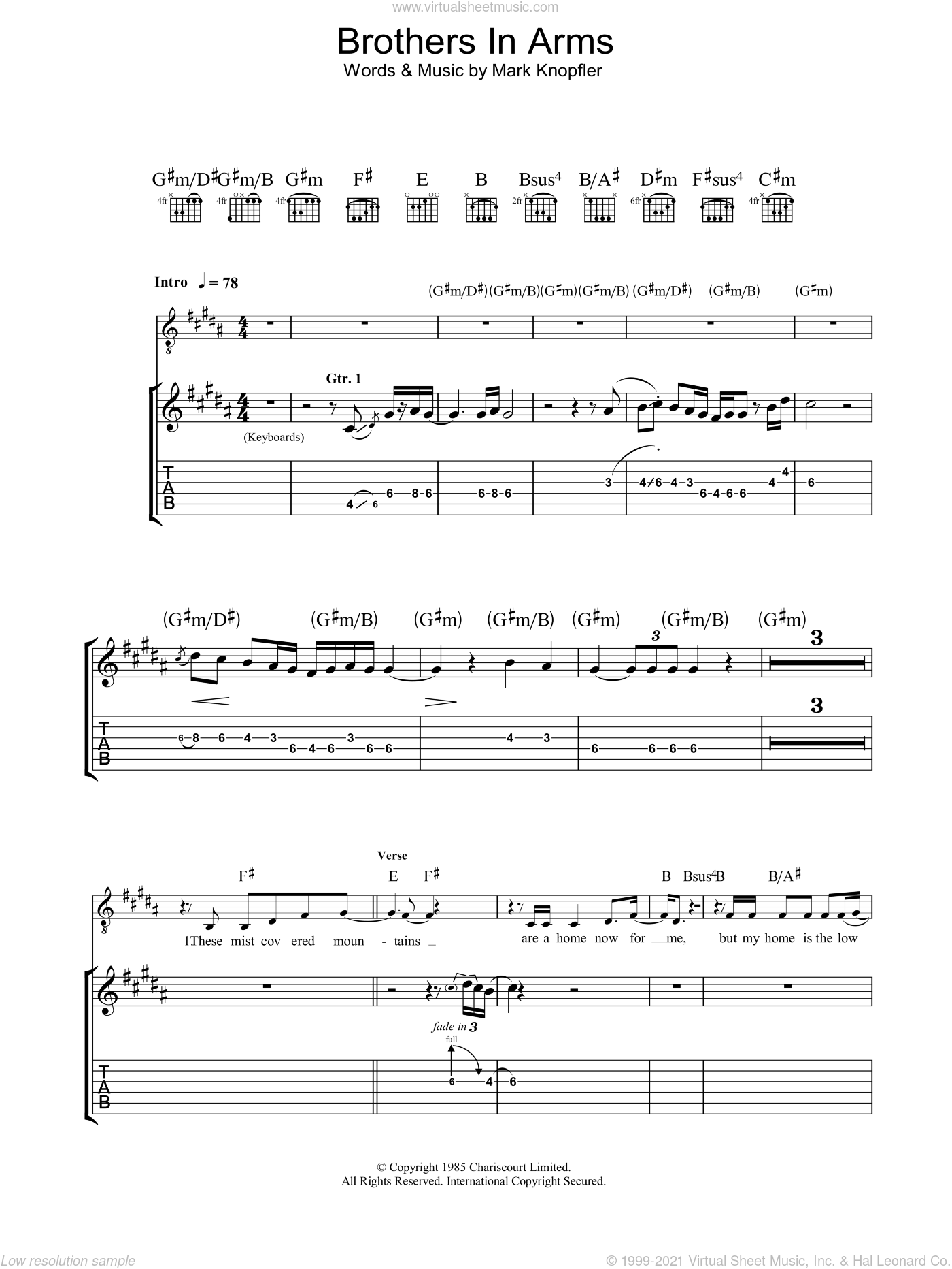 Brothers In Arms sheet music for guitar (tablature) by Mark Knopfler