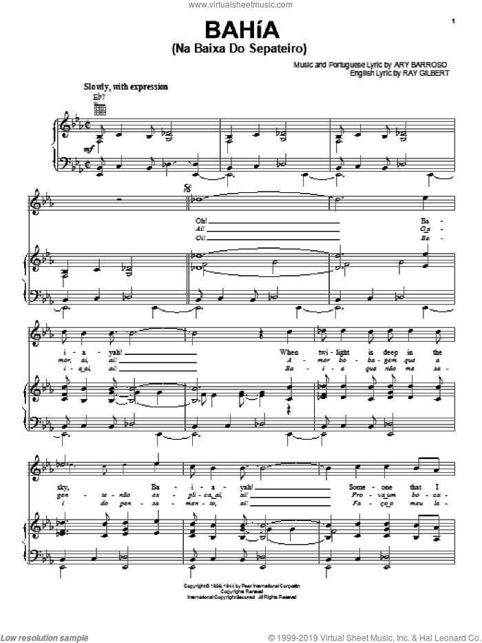 Bahia (Na Baixa Do Sapateiro) sheet music for voice, piano or guitar by Ary Barroso