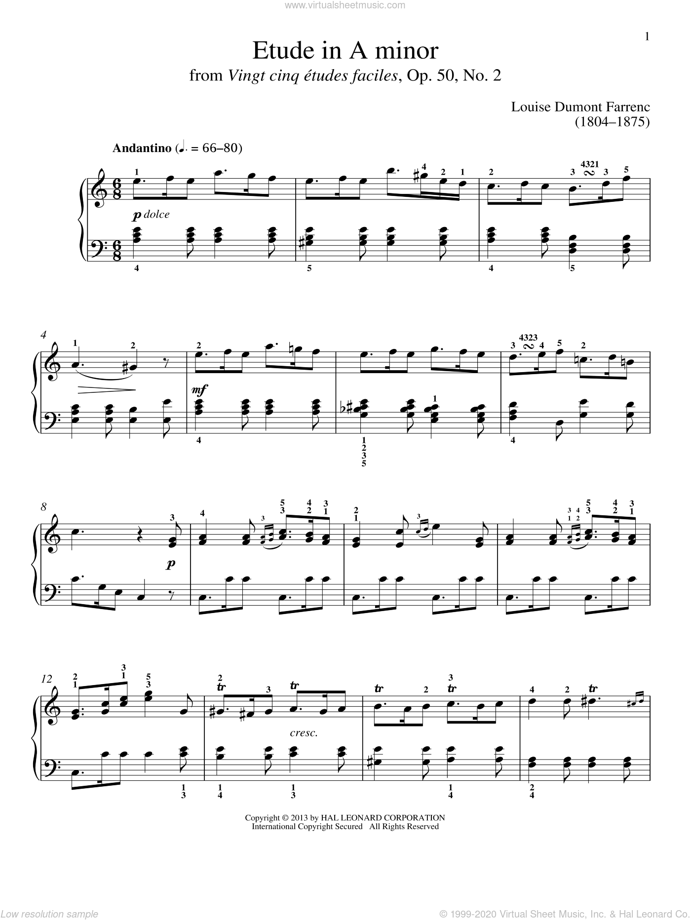Etude In A Minor sheet music for piano solo by Gail Smith