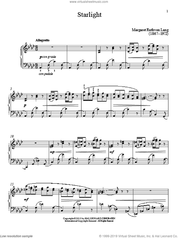 Starlight sheet music for piano solo by Gail Smith