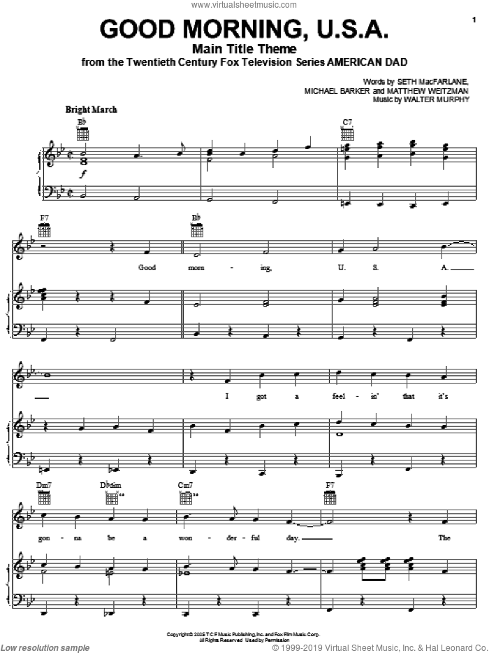 American Dad - Main Title Theme (Good Morning U.S.A.) sheet music for voice, piano or guitar by Michael Barker, Seth MacFarlane and Walter Murphy. Score Image Preview.