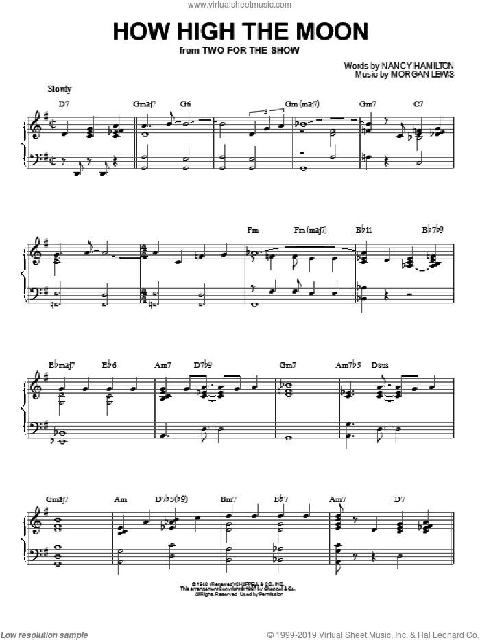How High The Moon sheet music for piano solo by Les Paul & Mary Ford, Morgan Lewis and Nancy Hamilton, intermediate skill level