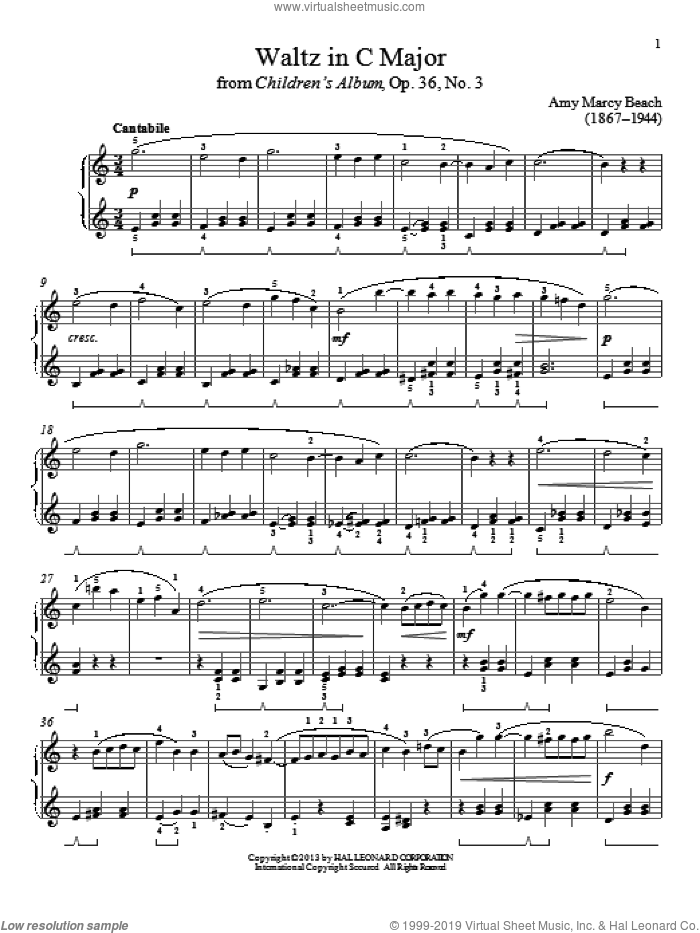 Waltz In C Major sheet music for piano solo by Gail Smith