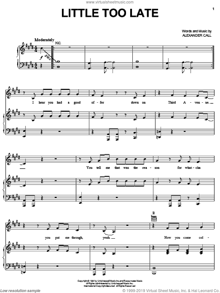 Little Too Late sheet music for voice, piano or guitar by Pat Benatar and Alex Call, intermediate skill level