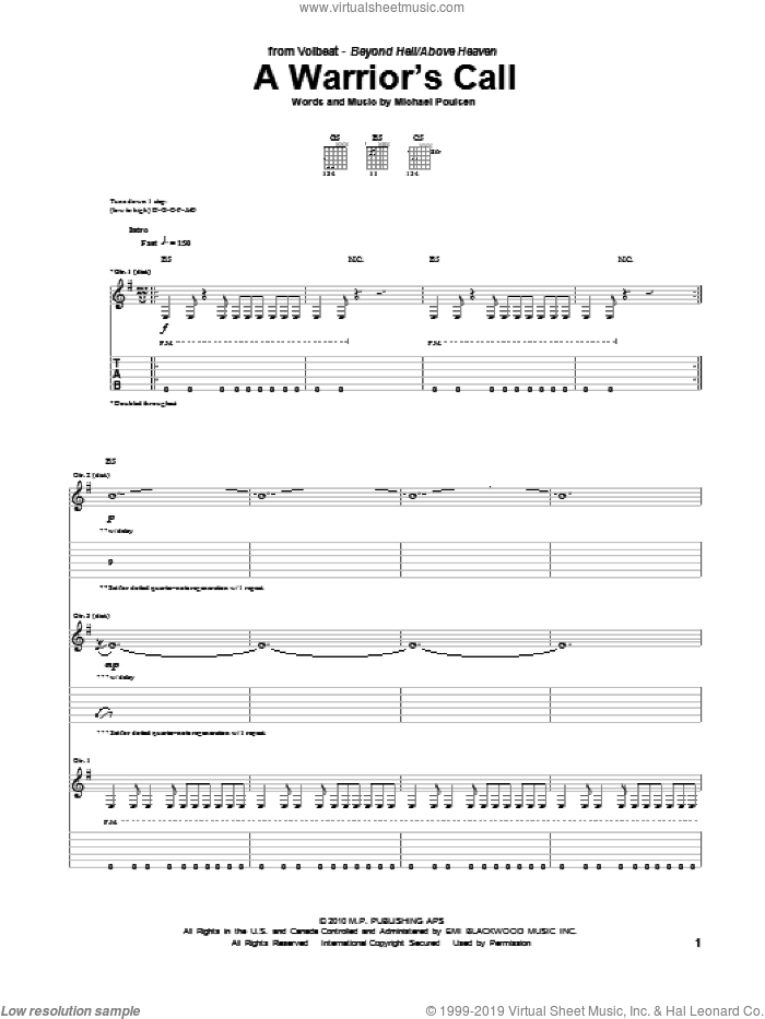 A Warrior's Call sheet music for guitar (tablature) by Volbeat, intermediate guitar (tablature). Score Image Preview.