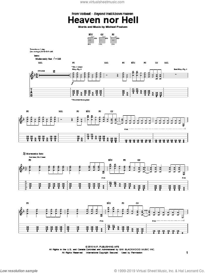 Heaven Nor Hell sheet music for guitar (tablature) by Volbeat, intermediate guitar (tablature). Score Image Preview.