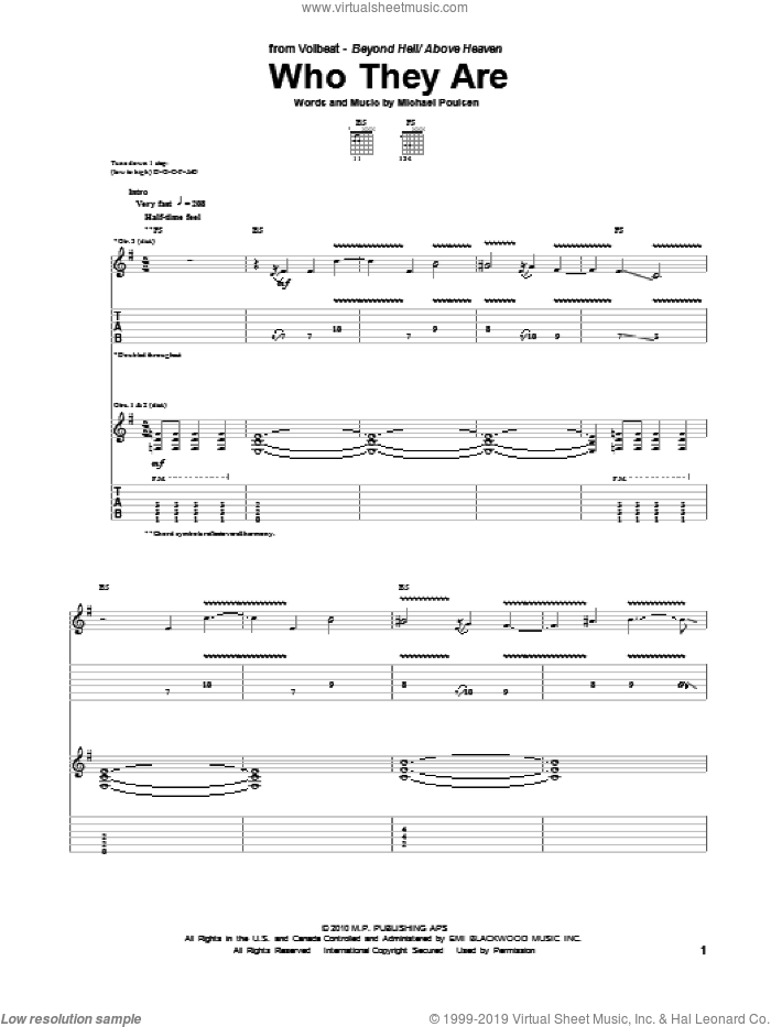 Who They Are sheet music for guitar (tablature) by Volbeat, intermediate. Score Image Preview.
