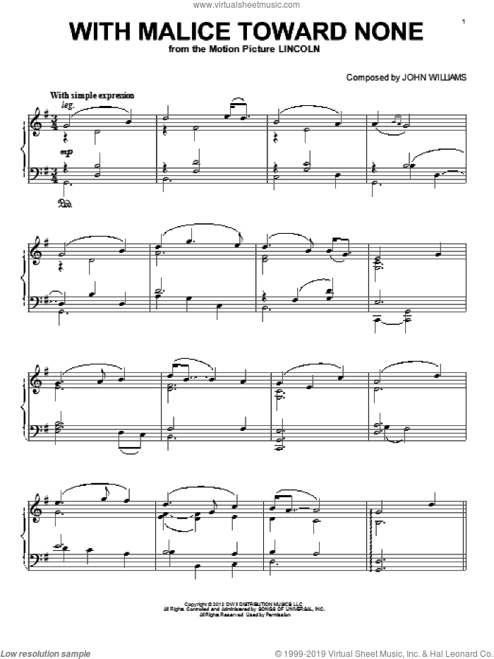 With Malice Toward None sheet music for piano solo by John Williams. Score Image Preview.