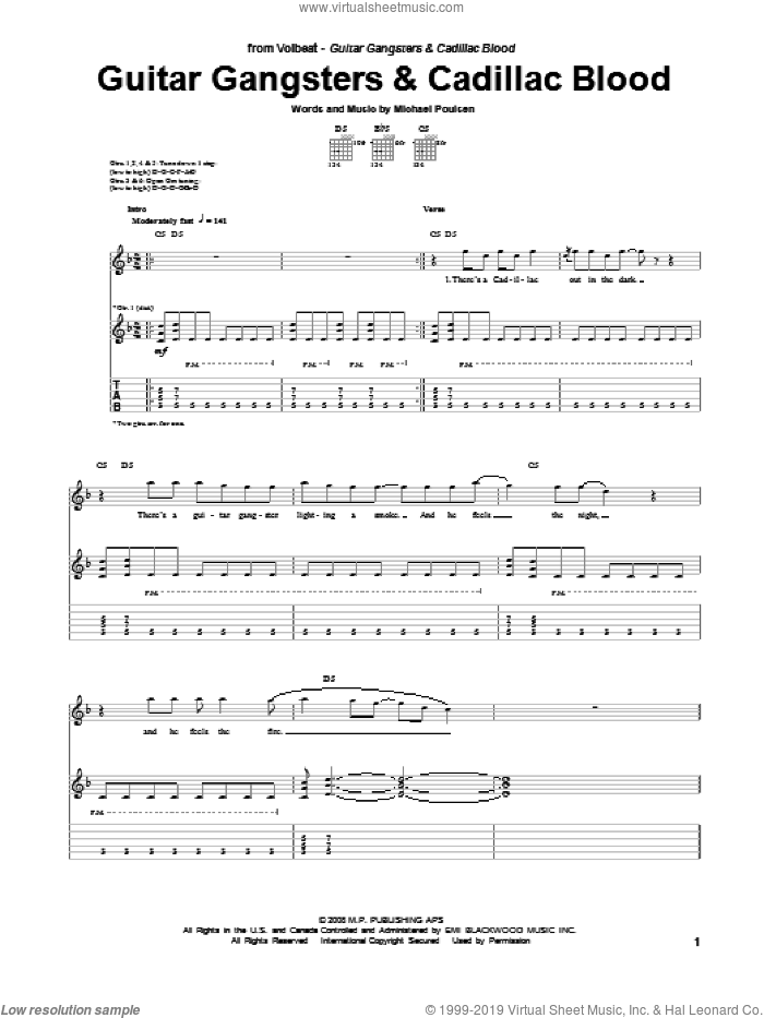 Guitar Gangsters and Cadillac Blood sheet music for guitar (tablature) by Michael Poulsen and Volbeat. Score Image Preview.