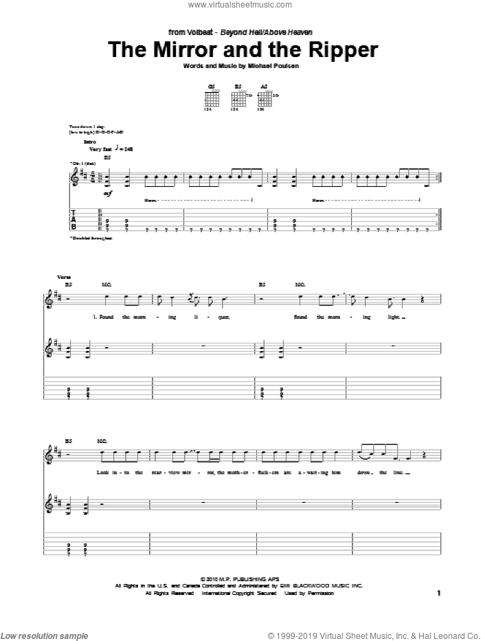 The Mirror And The Ripper sheet music for guitar (tablature) by Volbeat and Michael Poulsen, intermediate. Score Image Preview.