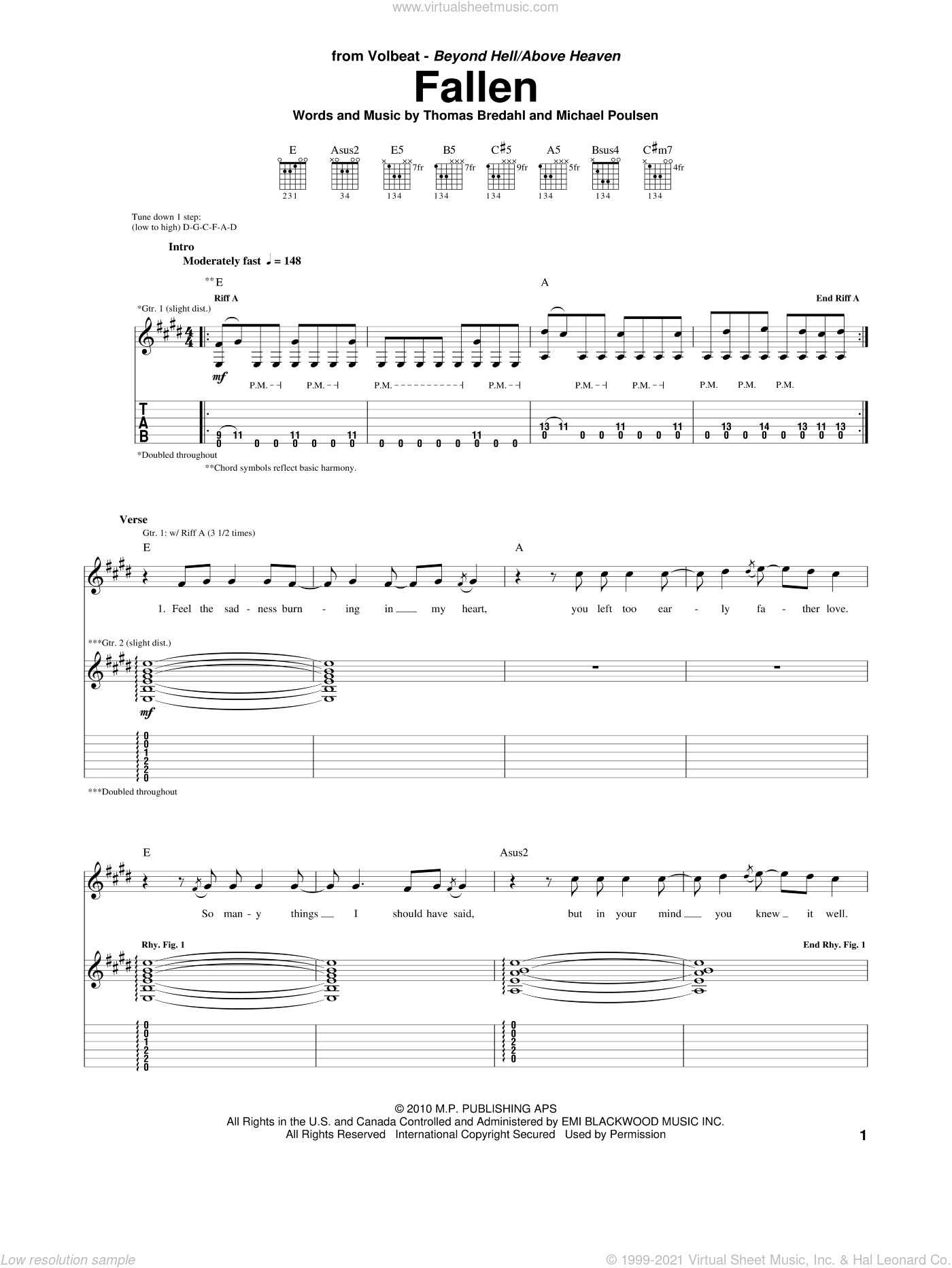 Fallen sheet music for guitar (tablature) by Thomas Bredahl, Michael Poulsen and Volbeat. Score Image Preview.