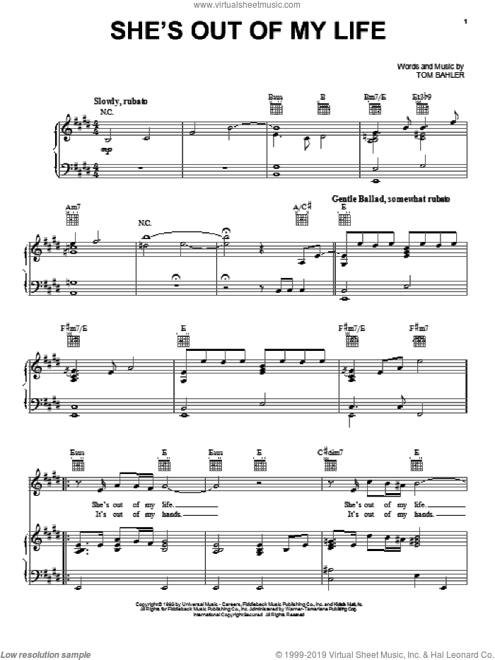 She's Out Of My Life sheet music for voice, piano or guitar by 98° and Tom Bahler, intermediate voice, piano or guitar. Score Image Preview.