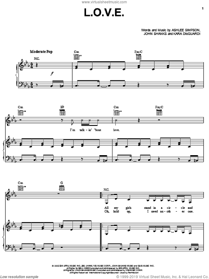L.O.V.E. sheet music for voice, piano or guitar by Ashlee Simpson, Kara DioGuardi and John Shanks, intermediate skill level