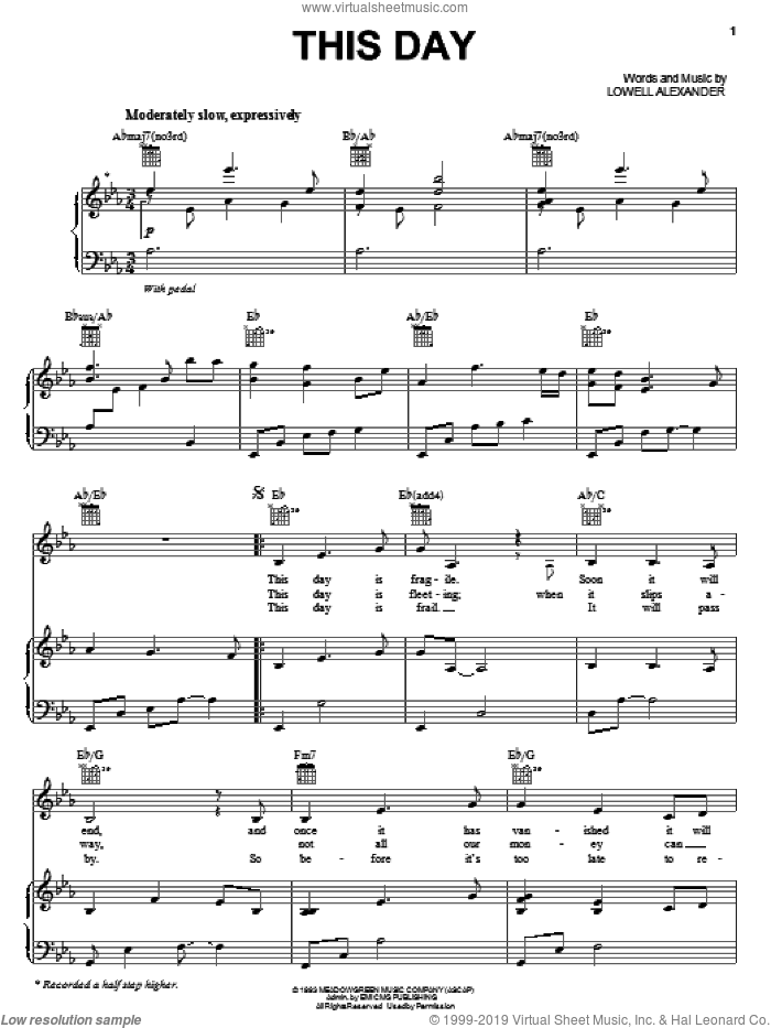 This Day sheet music for voice, piano or guitar by Lowell Alexander. Score Image Preview.