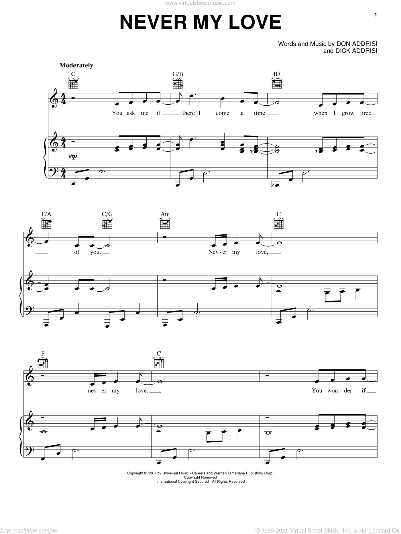 Never My Love sheet music for voice, piano or guitar by Don Addrisi, The Association, The Fifth Dimension and Dick Addrisi. Score Image Preview.