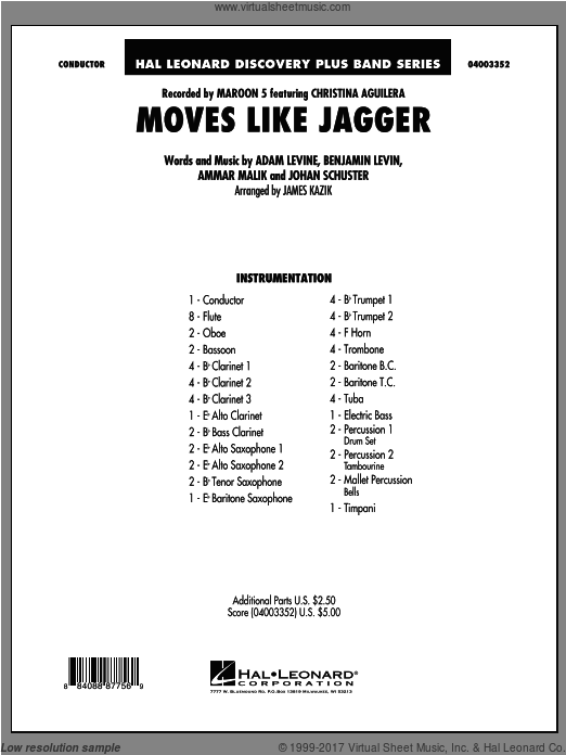 Moves Like Jagger (COMPLETE) sheet music for concert band by James Kazik