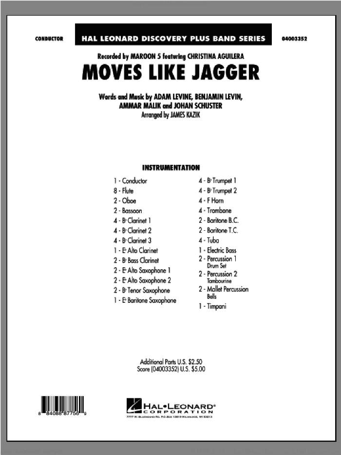 Moves Like Jagger (COMPLETE) sheet music for concert band by Maroon 5 and James Kazik, intermediate skill level