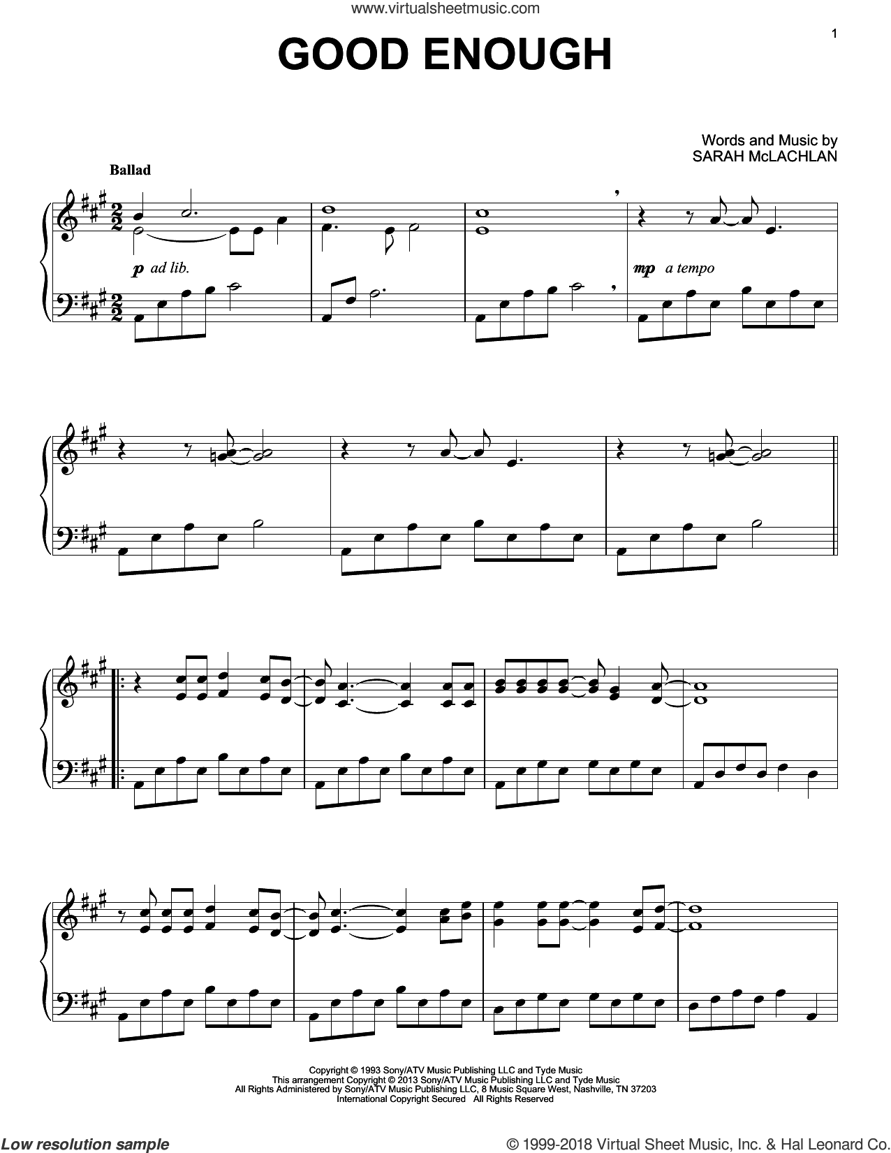 Good Enough sheet music for piano solo by Sarah McLachlan, intermediate skill level