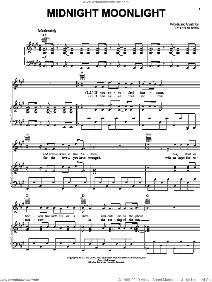 Midnight Moonlight sheet music for voice, piano or guitar by Peter Rowan. Score Image Preview.
