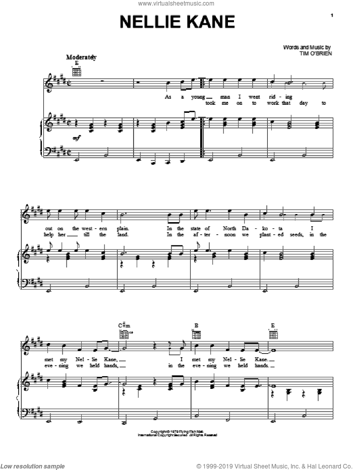 Nellie Kane sheet music for voice, piano or guitar by Tim O'Brien, intermediate. Score Image Preview.