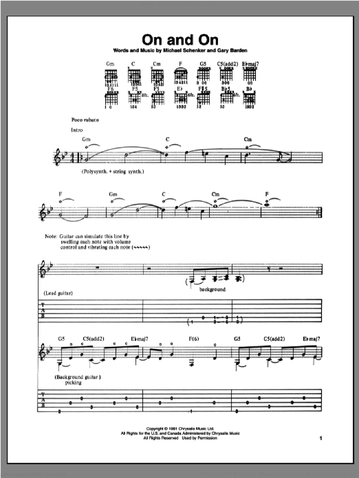 On And On sheet music for guitar (tablature) by Michael Schenker and Gary Barden, intermediate skill level
