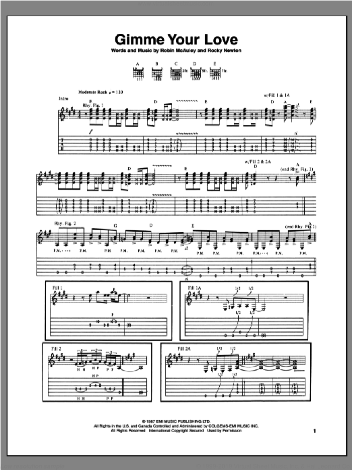 Gimme Your Love sheet music for guitar (tablature) by Rocky Newton