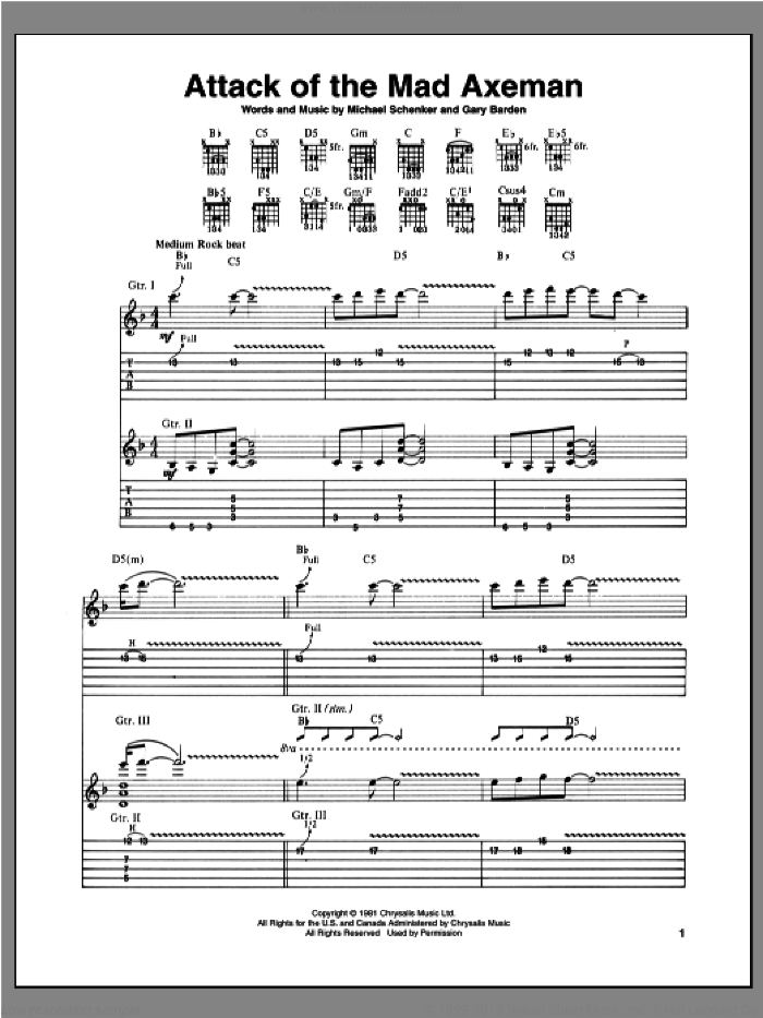 Attack Of The Mad Axeman sheet music for guitar (tablature) by Gary Barden and Michael Schenker. Score Image Preview.