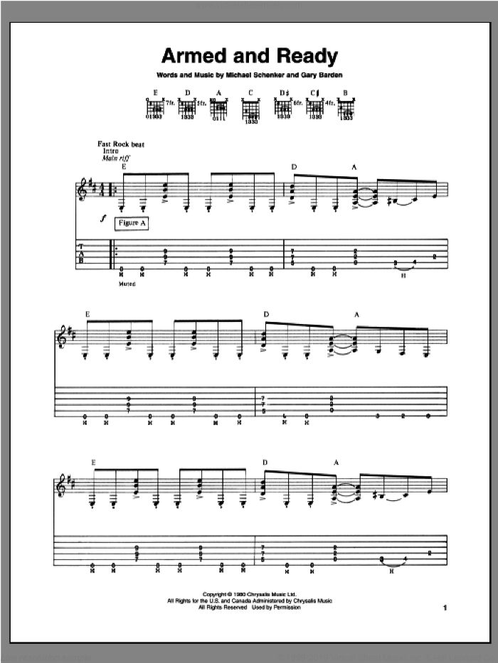Armed And Ready sheet music for guitar (tablature) by Gary Barden and Michael Schenker. Score Image Preview.
