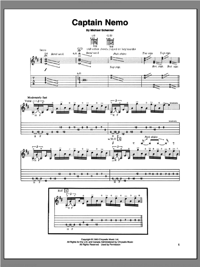 Captain Nemo sheet music for guitar (tablature) by Michael Schenker, intermediate. Score Image Preview.