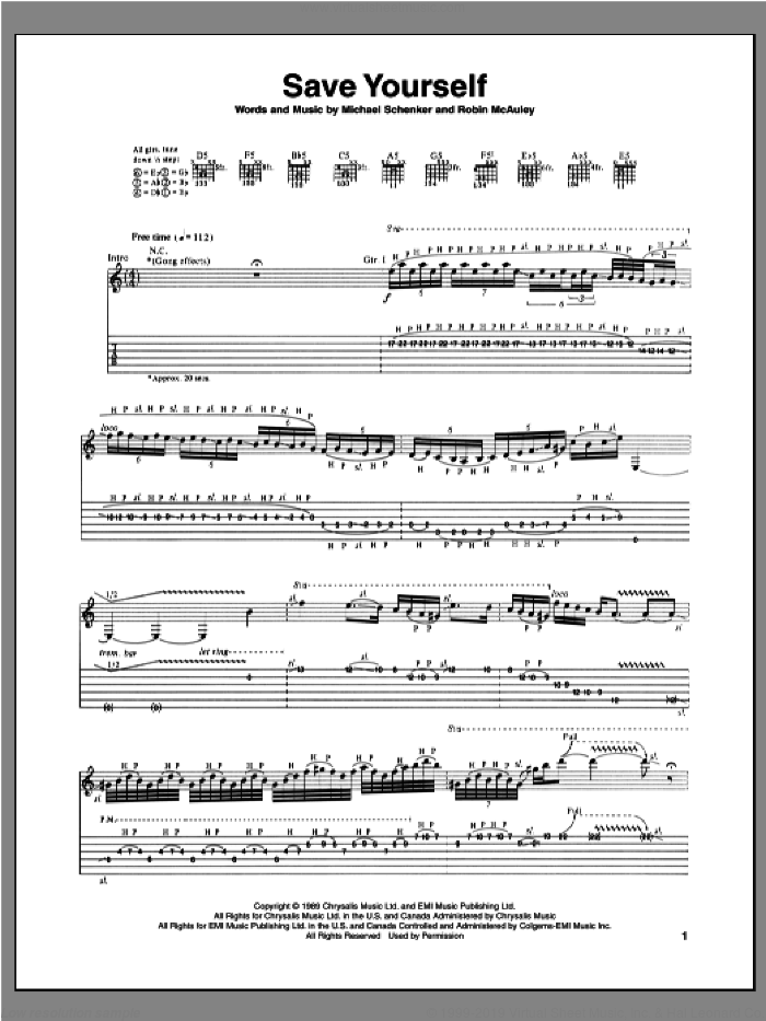 Save Yourself sheet music for guitar (tablature) by Michael Schenker and Robin McAuley, intermediate skill level
