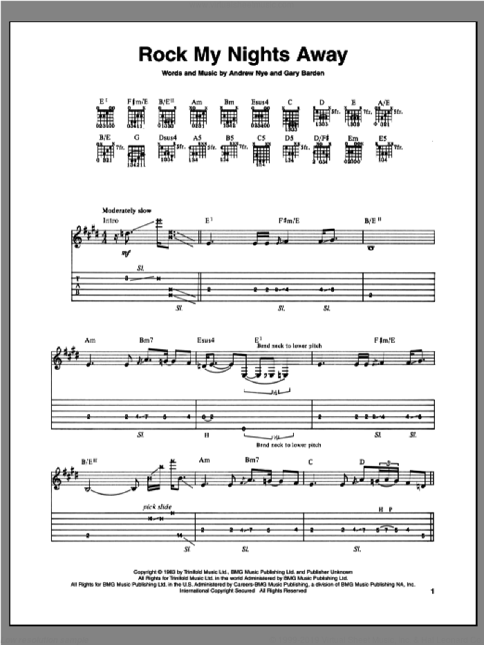 Rock My Nights Away sheet music for guitar (tablature) by Michael Schenker, intermediate skill level