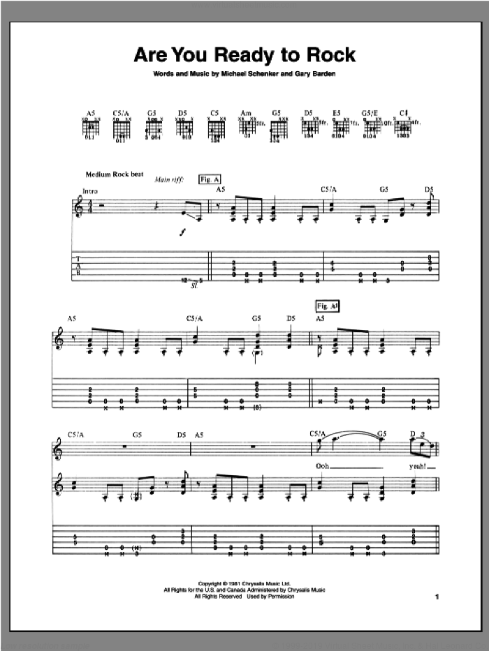 Are You Ready To Rock sheet music for guitar (tablature) by Gary Barden and Michael Schenker. Score Image Preview.