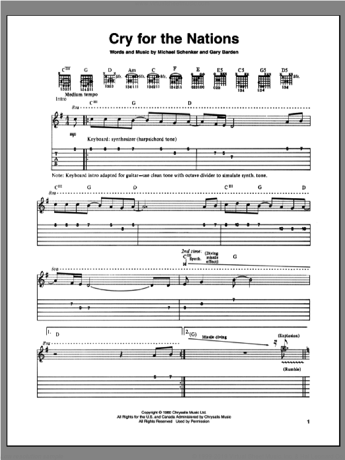 Cry For The Nations sheet music for guitar (tablature) by Gary Barden and Michael Schenker. Score Image Preview.