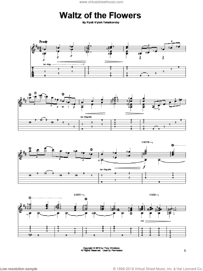 Waltz Of The Flowers sheet music for guitar solo by Pyotr Ilyich Tchaikovsky, classical score, intermediate guitar. Score Image Preview.