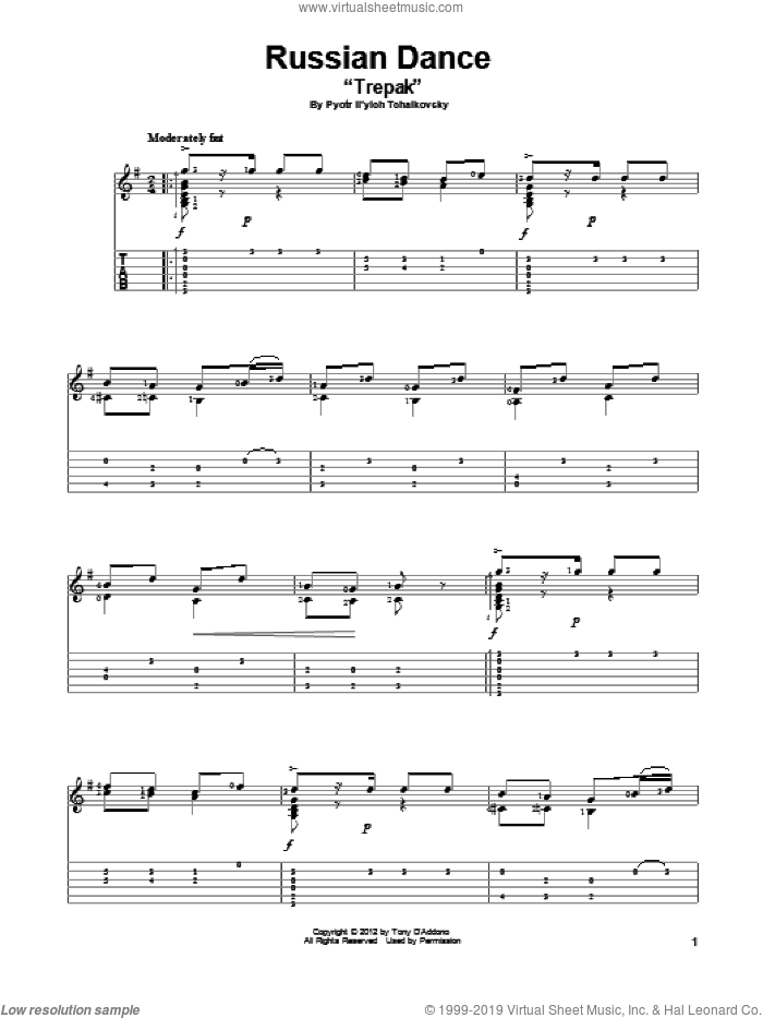 Russian Dance ('Trepak') sheet music for guitar solo by Pyotr Ilyich Tchaikovsky, classical score, intermediate skill level