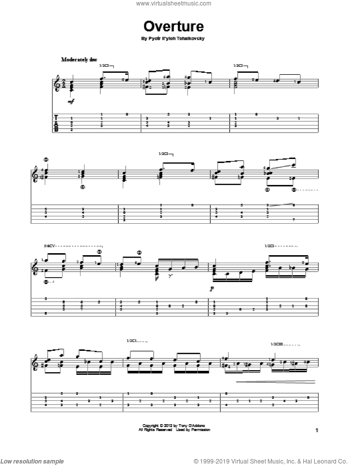 Overture sheet music for guitar solo by Pyotr Ilyich Tchaikovsky, classical score, intermediate. Score Image Preview.