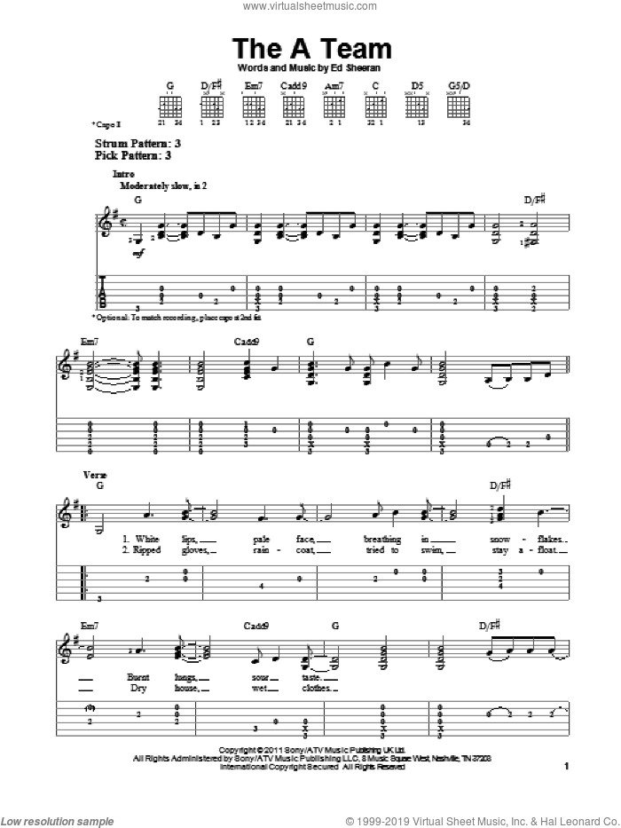 The A Team sheet music for guitar solo (easy tablature) by Ed Sheeran. Score Image Preview.